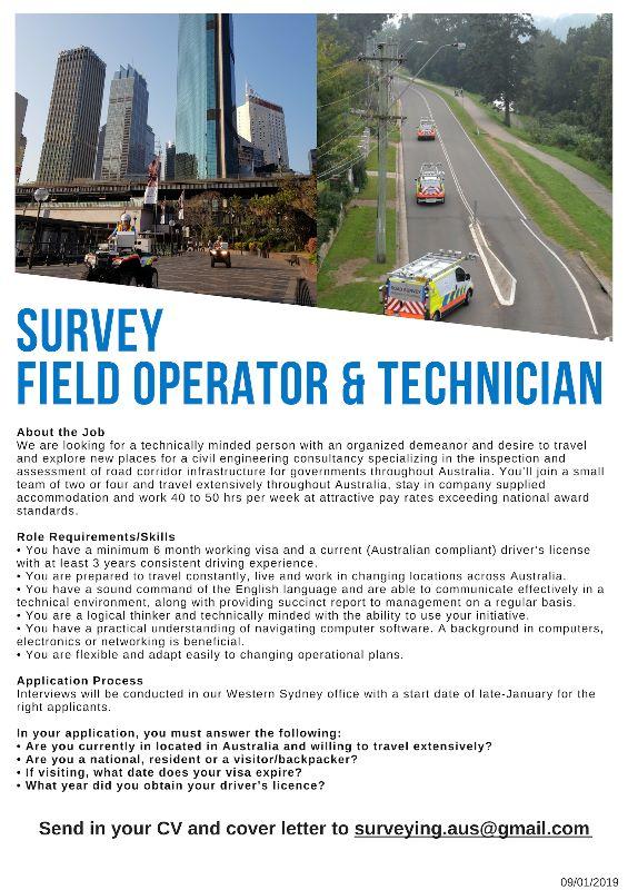 Survey Field Operator & Technician (417 & 462 Visa Holders Welcome)