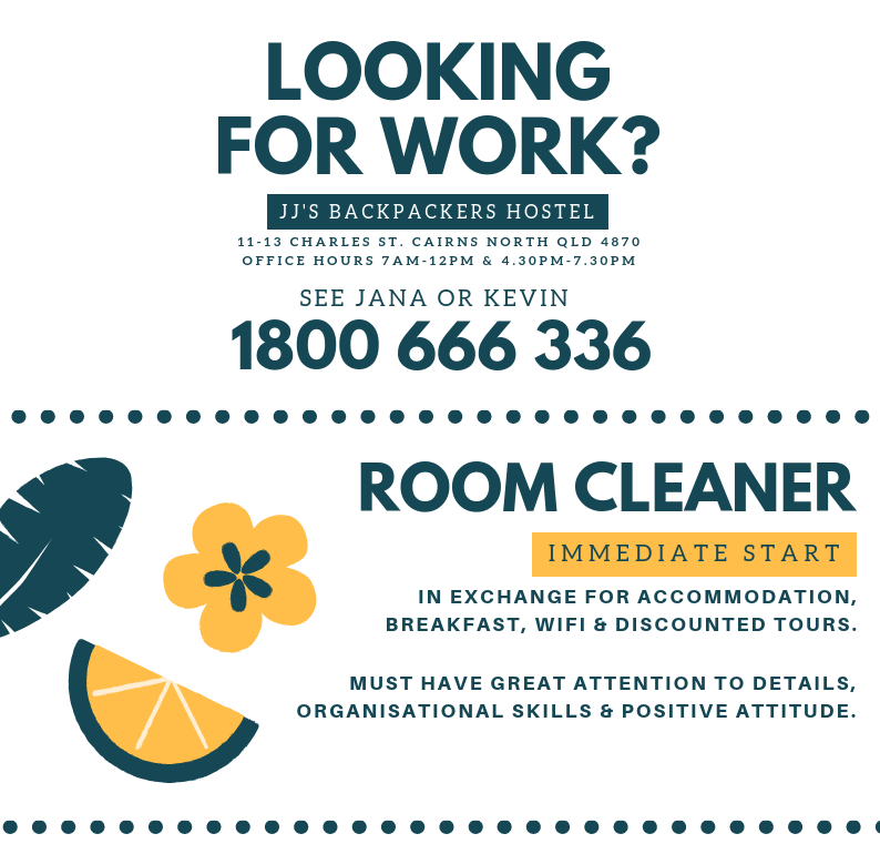 Work For Accom: Cleaners Wanted!