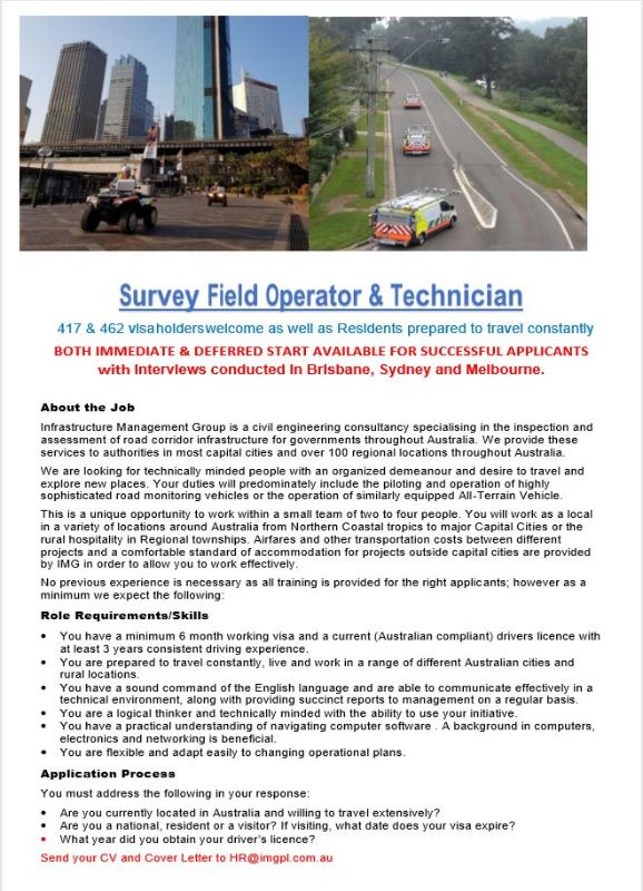 Survey Field Operator & Technician (417/462 Visa Holders And Residents Willing To Travel Constantly)