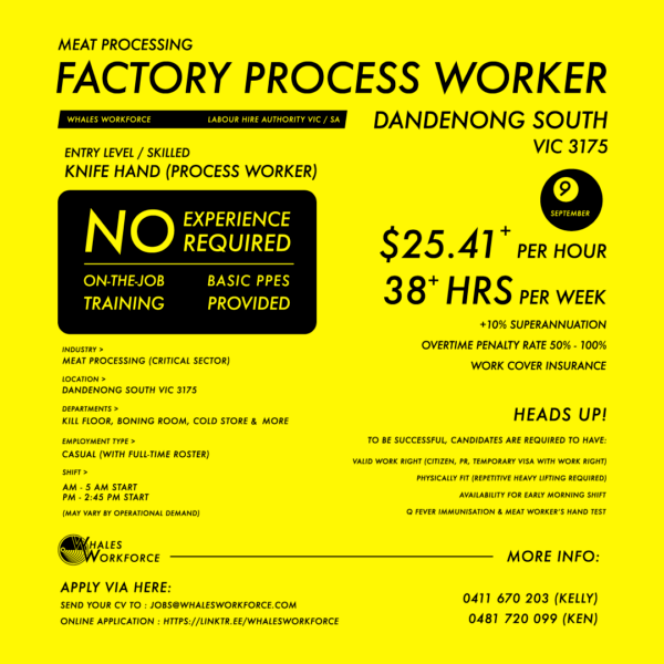 Meat Processing Worker Dandenong South Vic 3175